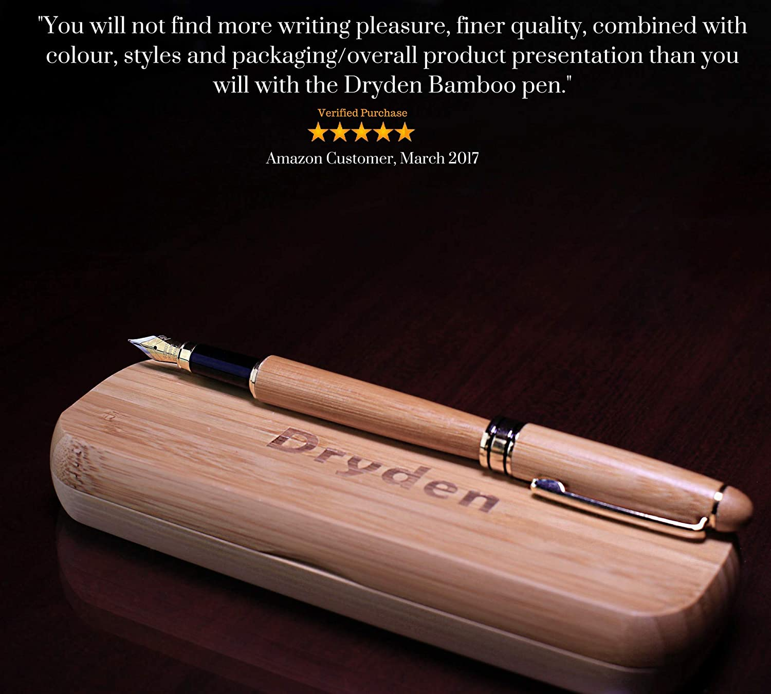 Amazon Dryden Luxury Bamboo Fountain Pen With Gift Case