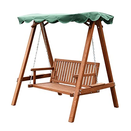 Marvelous Tangkula Outdoor Patio Swing Wooden Loveseat Hammock Canopy Garden Poolside