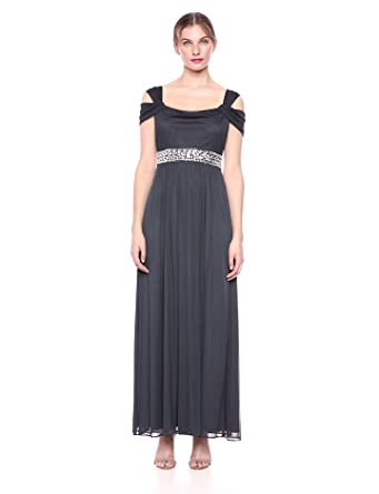 c24fa746e3913 Alex Evenings Women s Long Cold Shoulder Dress (Petite and Regular Sizes)