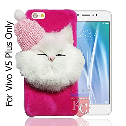 official photos 157cd 42b5b KC Soft Fluffy Fur Cartoon Kitty with Woolen Cap Back Cover for Vivo V5  Plus (Pink)