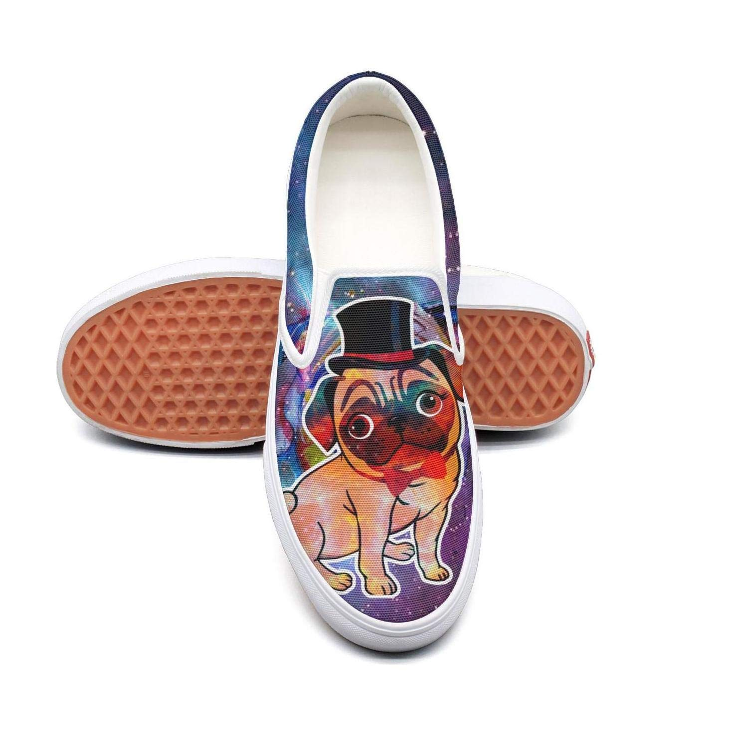NI kingss Womens Ladies Funny Pug Dog with hat Bow Flat Fashion Casual Shoes Sneakers Print Skateboard Shoes