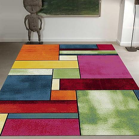 UNAMOURDETAPIS Tapis Tendance pour la Chambre Belo 11 Vert, Jaune, Orange,  Bleu, Rouge, Rose 280 x 380 cm