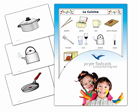 Amazon Com Kitchen And Crockery Flashcards In French For Kids