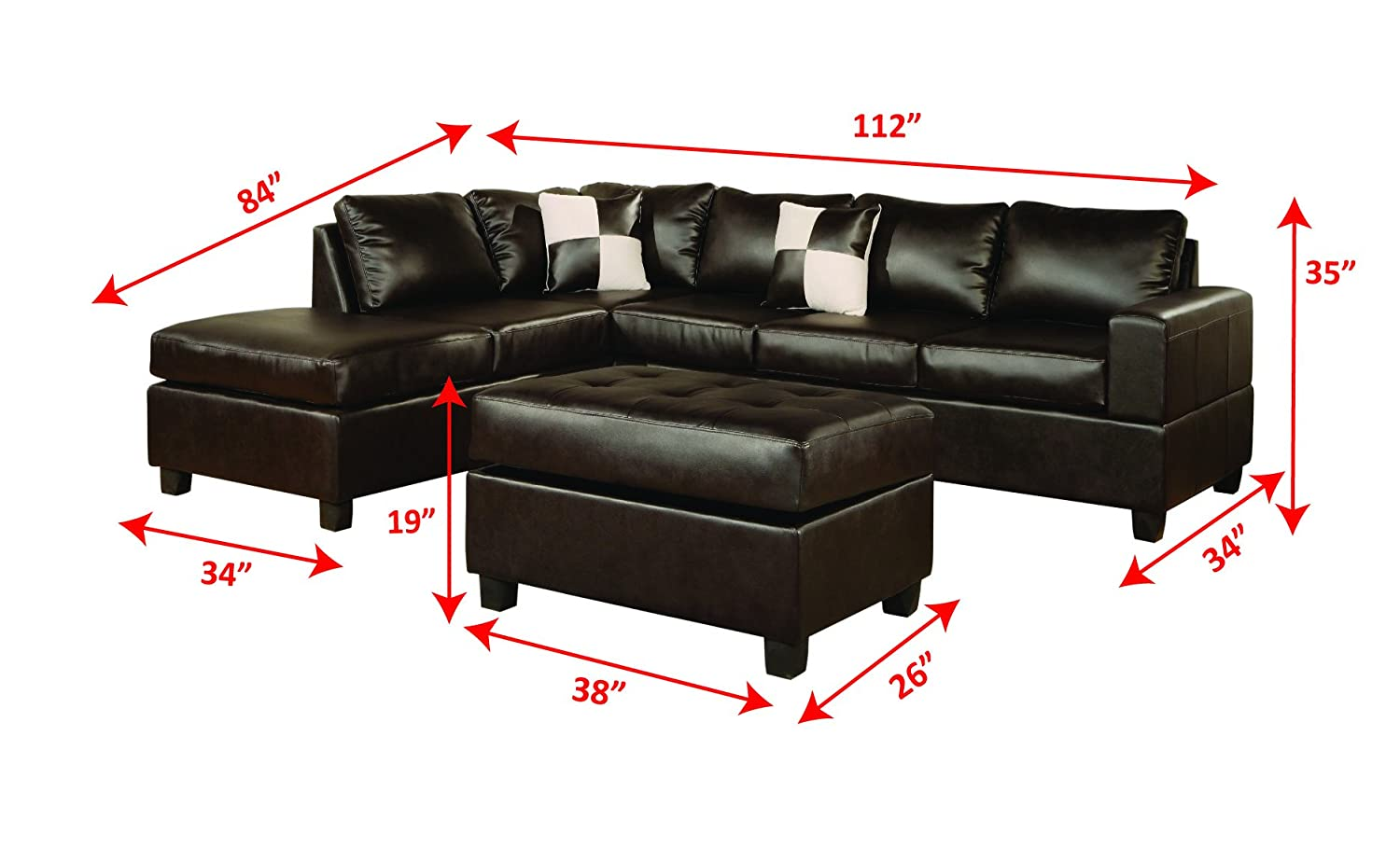 Amazon.com: Bobkona Soft-Touch Reversible Bonded Leather Match 3-Piece  Sectional Sofa Set, Espresso: Kitchen & Dining