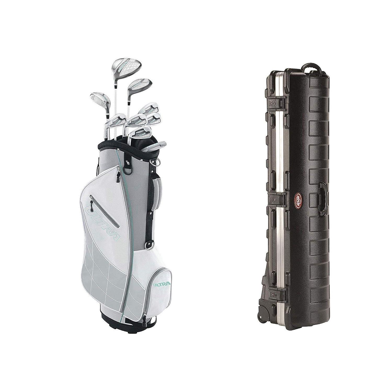 Wilson Ultra レディース 左利き用 ゴルフクラブセット カートバッグ付き グレー MintSKB ケース デラックス ATA スタンダード ハード プラスチック 収納 車輪付き ゴルフバッグ トラベルケース