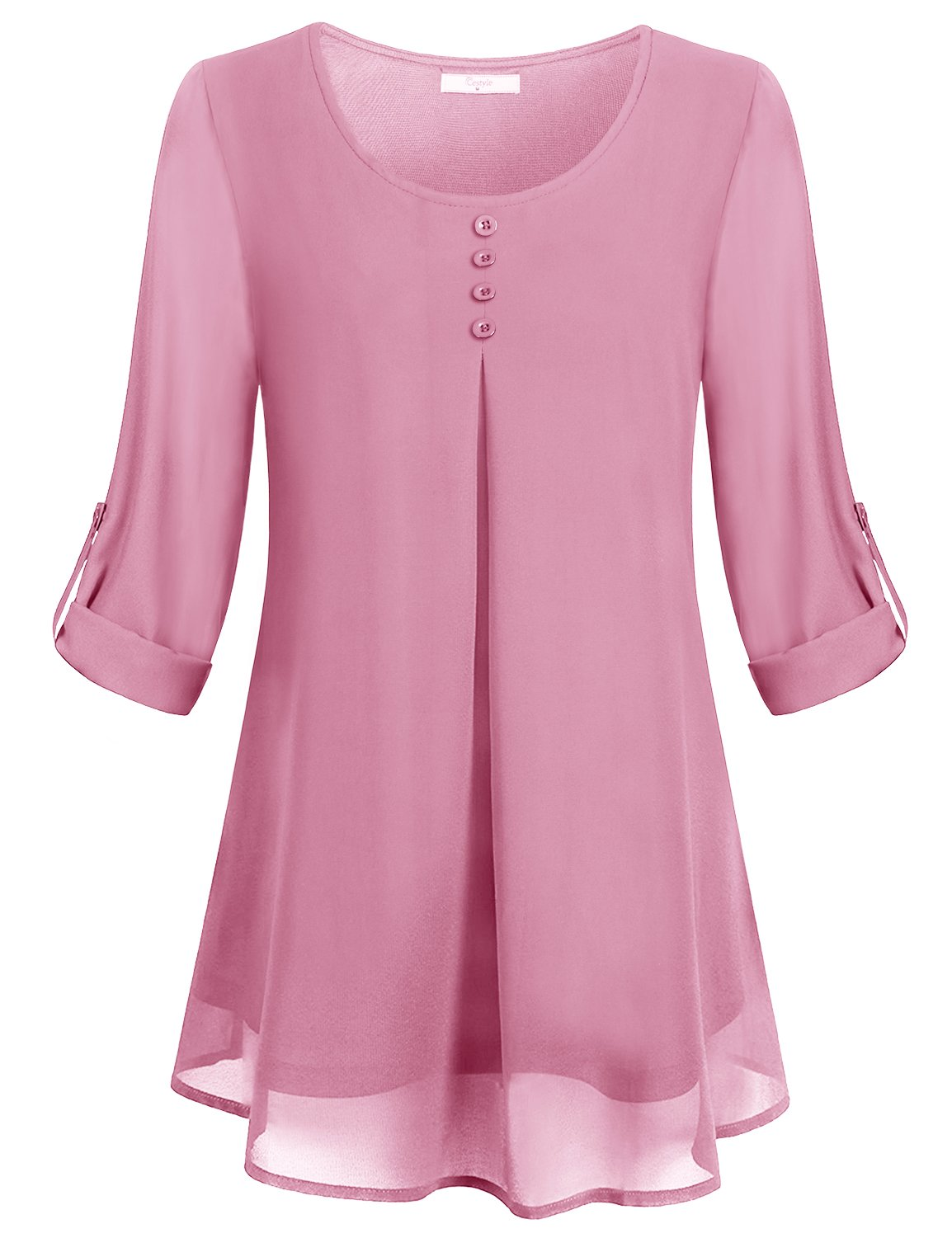 Cestyle Loose Fitting Tops for Women,Juniors U Neck 3/4 Sleeve Pure Color Long Shirts Summer Double Layer Dressy Chiffon Tunic Blouse Tee Pink Size M