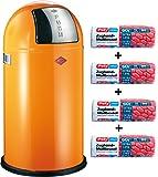 Wesco Set Pushboy 50-Liter Mülleimer orange + 56 Stück optimal passende Müllbeutel