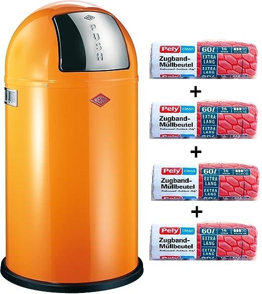 Wesco Pushboy 50 litros de basura de naranja + 56 pcs ...