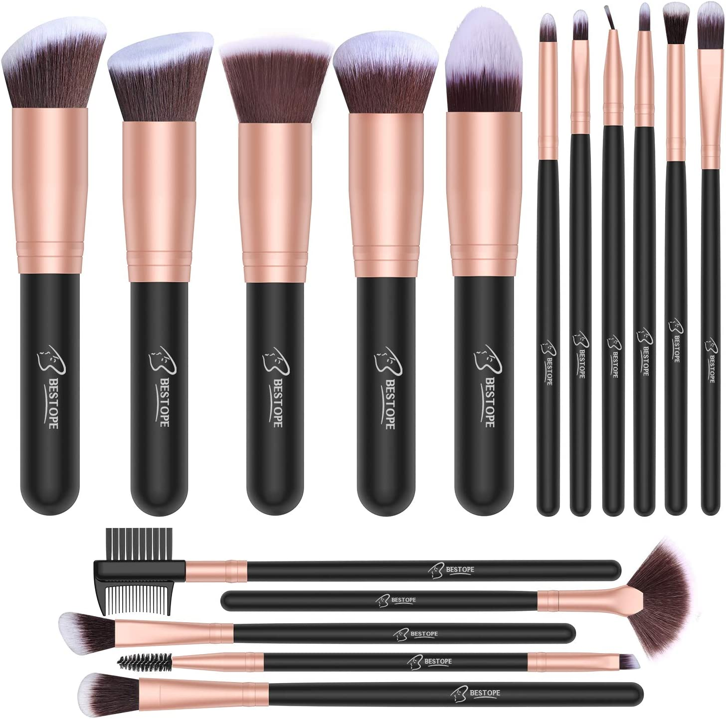 Set de brochas de maquillaje profesional BESTOPE 16 piezas Pinceles de maquillaje Set Premium Synthetic Foundation Brush Blending Face Powder Blush Concealers Kit de pinceles (Rose Golden): Amazon.es: Belleza