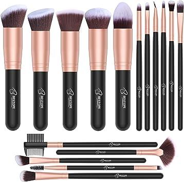 Set de brochas de maquillaje profesional BESTOPE 16 piezas Pinceles de maquillaje Set Premium Synthetic Foundation Brush Blending Face Powder Blush Concealers Kit de pinceles (Rose Golden): Amazon.es: Belleza