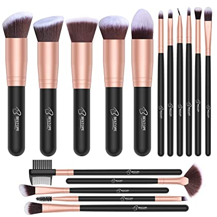Set de brochas de maquillaje profesional BESTOPE 16 piezas Pinceles de maquillaje Set Premium Synthetic Foundation Brush Blending Face Powder Blush ...