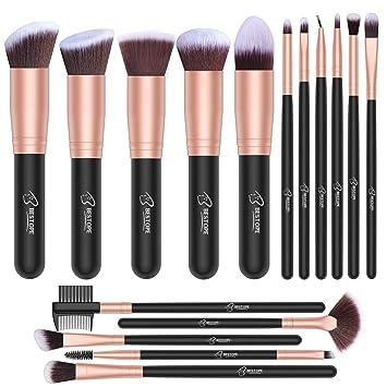 Set de brochas de maquillaje profesional BESTOPE 16 piezas Pinceles de maquillaje Set Premium Synthetic Foundation Brush Blending Face Powder Blush ...