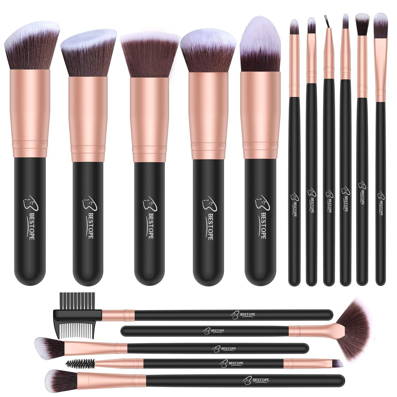 Set de brochas de maquillaje profesional BESTOPE 16 piezas Pinceles de maquillaje Set Premium Synthetic Foundation Brush Blending Face Powder Blush Concealers Kit de pinceles (Rose Golden) product image