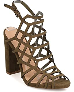 dad19c0fb53 Wild Diva Women Faux Suede Peep Toe Caged Chunky Heel Sandal FH78 - Olive