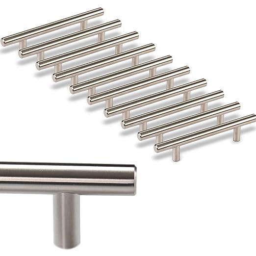 10 x SO-TECH® Tirador de Mueble Manija Barra G17 Tubo de Acero Inoxidable Distancia Agujeros 96 mm