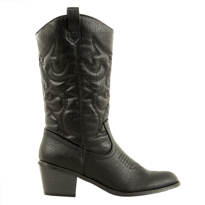 d0b6381225a DEV Latest Hot Fashion Mid Calf Women 1 Cow Boy Western Slauchy Casual  Chunky Heel Boot Shoes