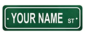 """Personalized Custom Name Street Sign - 6"""" x 18"""" Authentic Reflective Aluminum"""