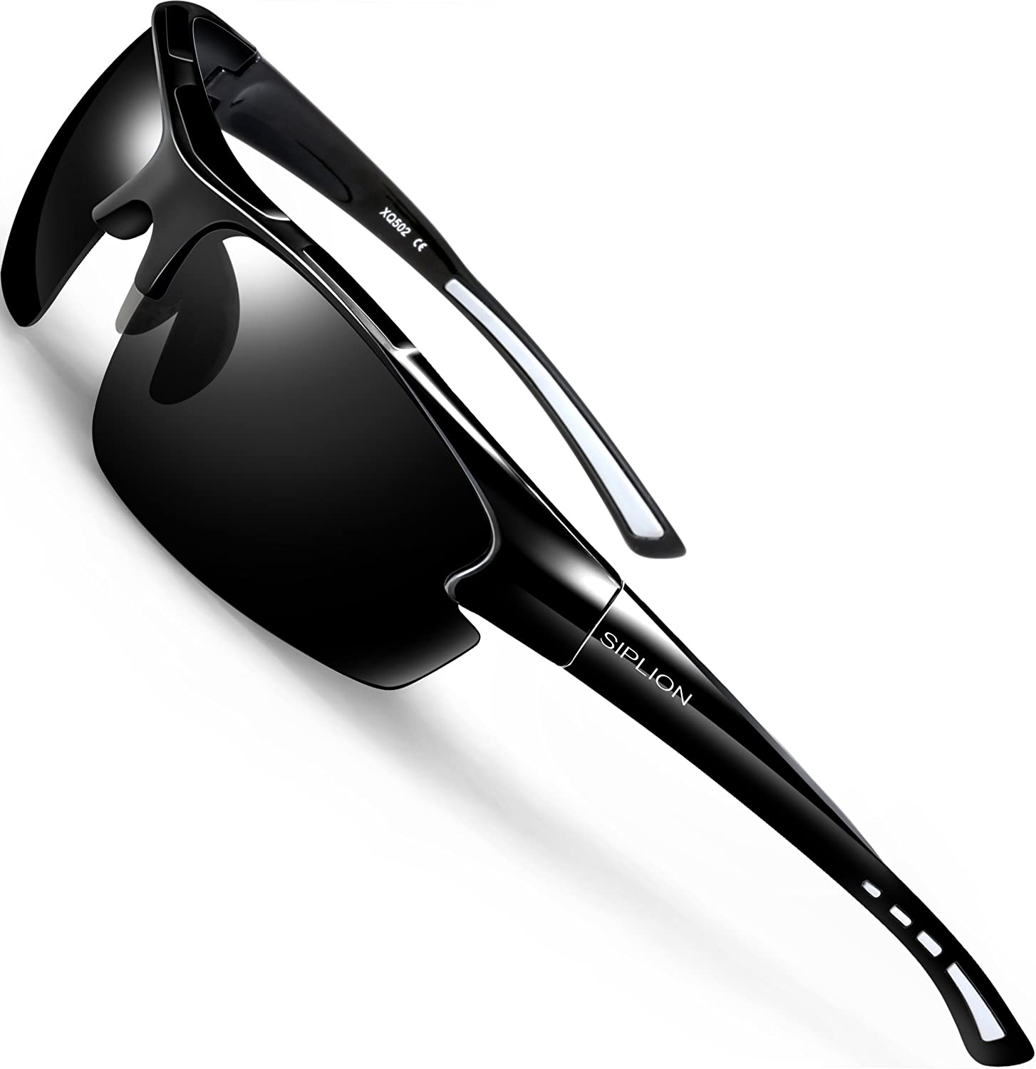 SIPLION Men's Polarized Sunglasses Sports Glasses for Cycling Fishing Golf TR90 Superlight Frame 502 BLACK: Shoes