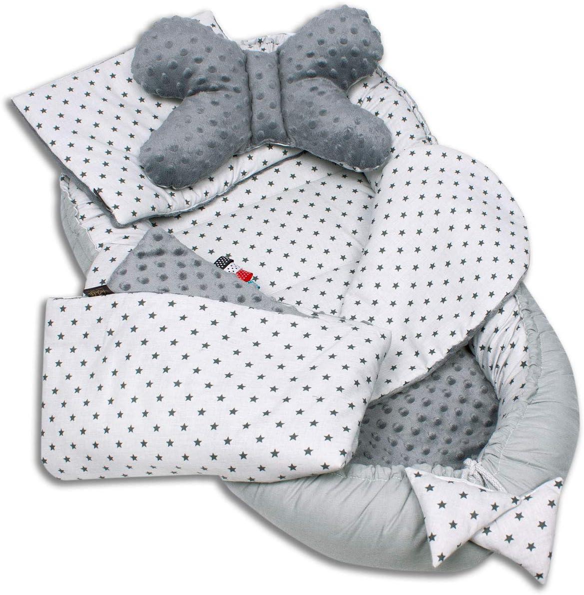 Palulli Babynestchen, 5-teiliges Set, hohe Qualität, 90x50cm, mit Kuscheldecke, Kissen und herausnehmbarer Einlage, Baumwolle,...