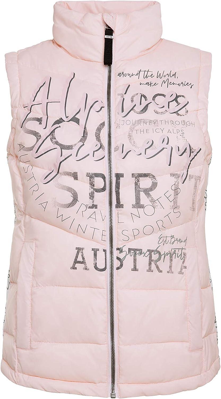 SOCCX Damen Steppweste mit Kapuze und Label Prints
