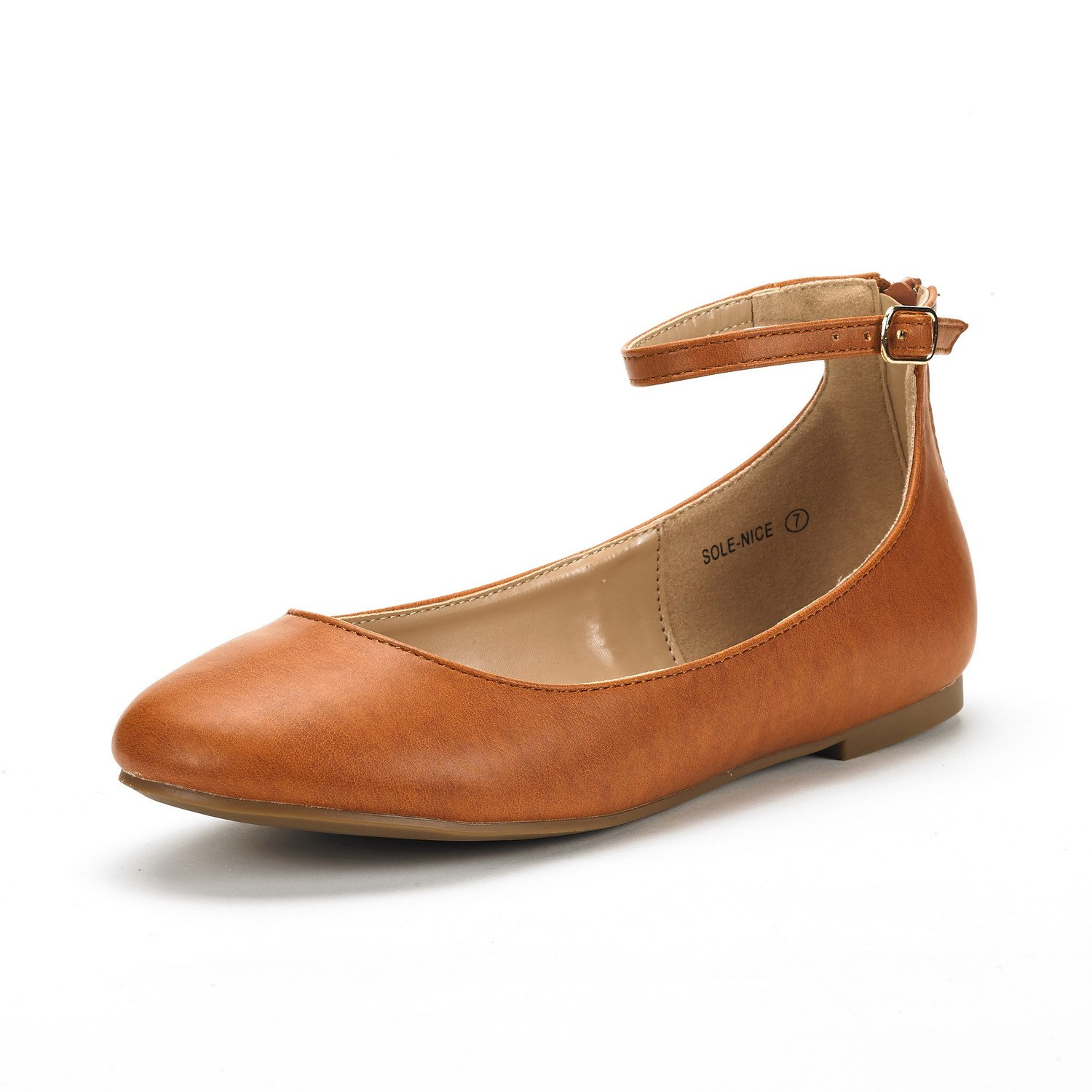 DREAM PAIRS Women's Sole-Nice Tan Pu Ankle Strap Walking Flats Shoes - 6.5 M US