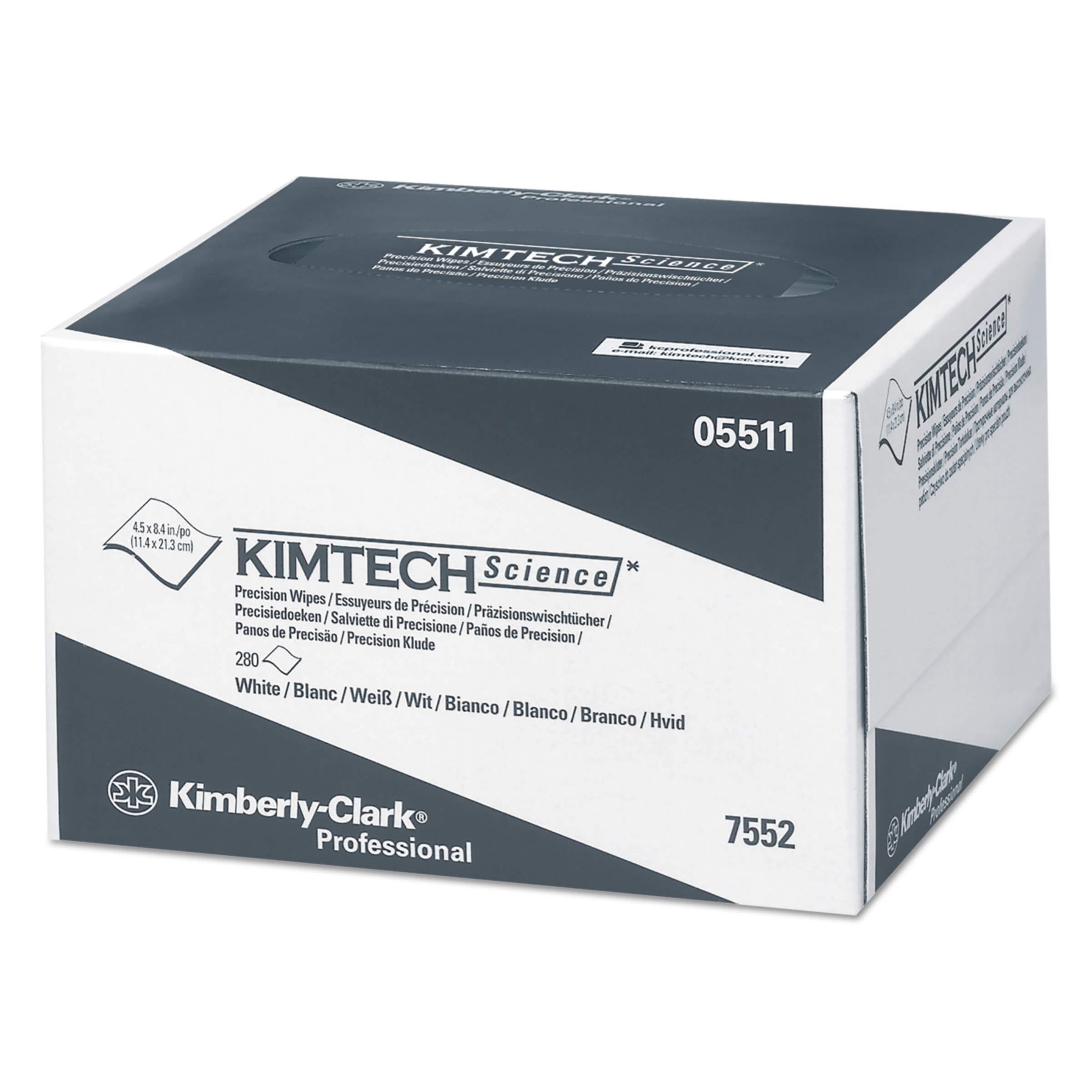 Kimtech 05511 Precision Wipers, POP-UP Box, 1-Ply, 4 2/5 x 8 2/5, White, 280 per Box (Case of 60 Boxes)