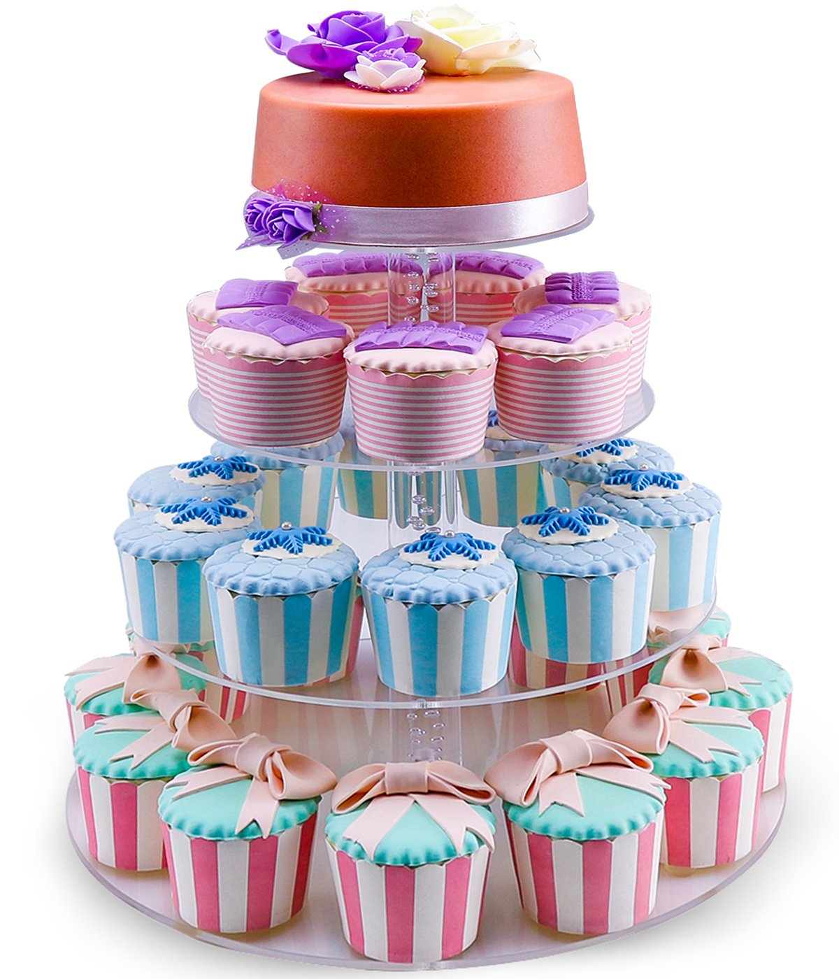 NewCrea Cupcake Stand,4 tier Cake Holder For Birthday,Wedding,Christmas Party,Clear,Acrylic CCS-4R03