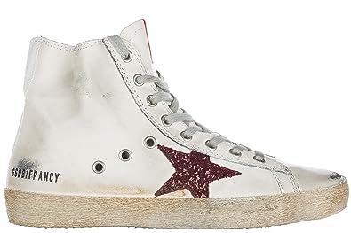 Golden Goose scarpe sneakers alte donna in pelle nuove francy bianco   Amazon.it  Scarpe e borse 945d9a9ff00