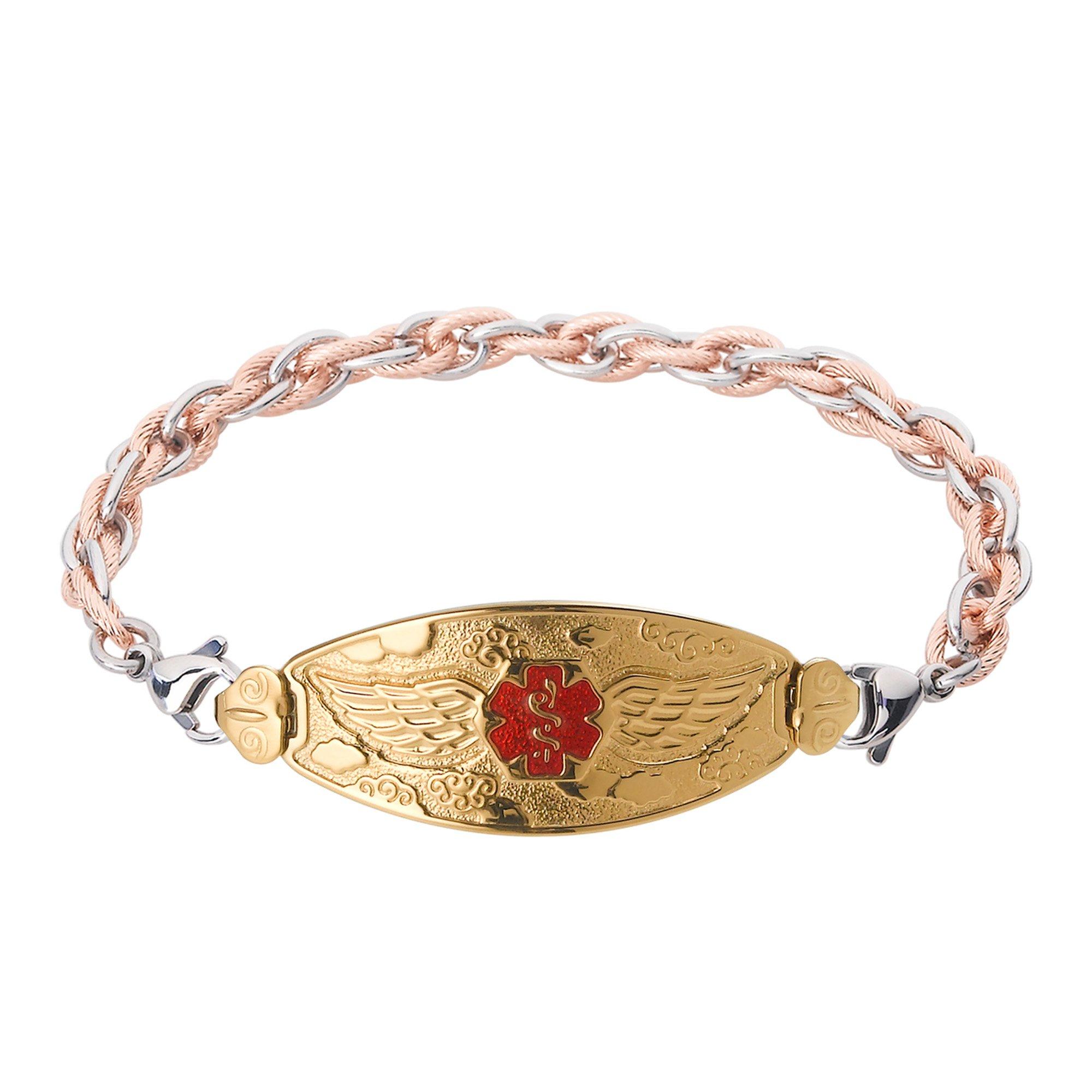 Divoti Deep Custom Laser Engraved PVD Gold Angel Wing Medical Alert Bracelet -Inter-Mesh Rose Gold/Silver-TP Red-7.5''