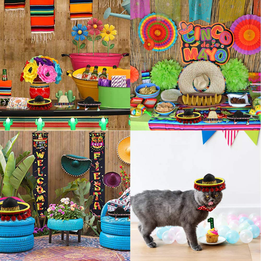 Mexican Theme Decorations for Carnivals Festivals Wedding Cinco De Mayo Fiesta Fabric and Straw Sombrero Headbands Party Costume for Fun Fiesta Hat Party Supplies Birthdays and Party Favors Dia De Muertos Coco Theme Luau Event Photo Props