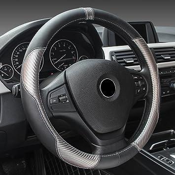 Schwarz Lenkradbezug Lenkrad Schoner echtes Leder 37-39 cm Neu für Opel Volvo VW