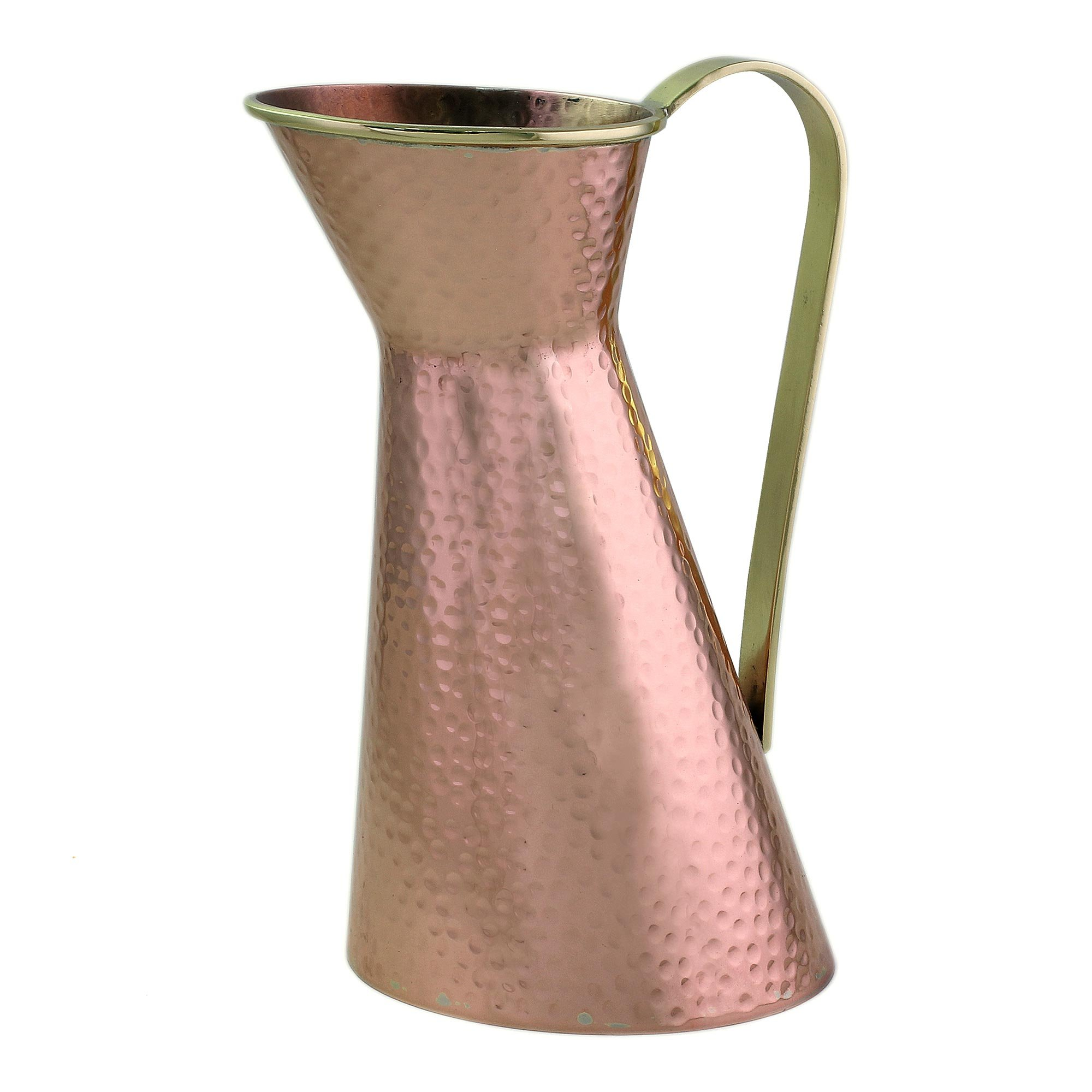 NOVICA Copper Hand Made Brass Rim and Handle Pitcher, 'Cheerful Feast' by NOVICA