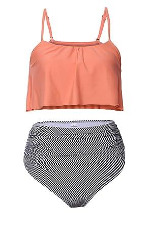 b49c1a656f361 Amazon.com  Aleumdr Womens Thin Shoulder Straps Ruched High-Waisted Bikini  Swimsuit  Clothing