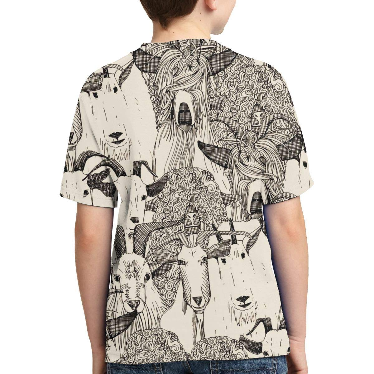 OPQH Boys Short Sleeve Just Goats Natural 3D Print T-Shirts Graphic Tees for Kids Teens