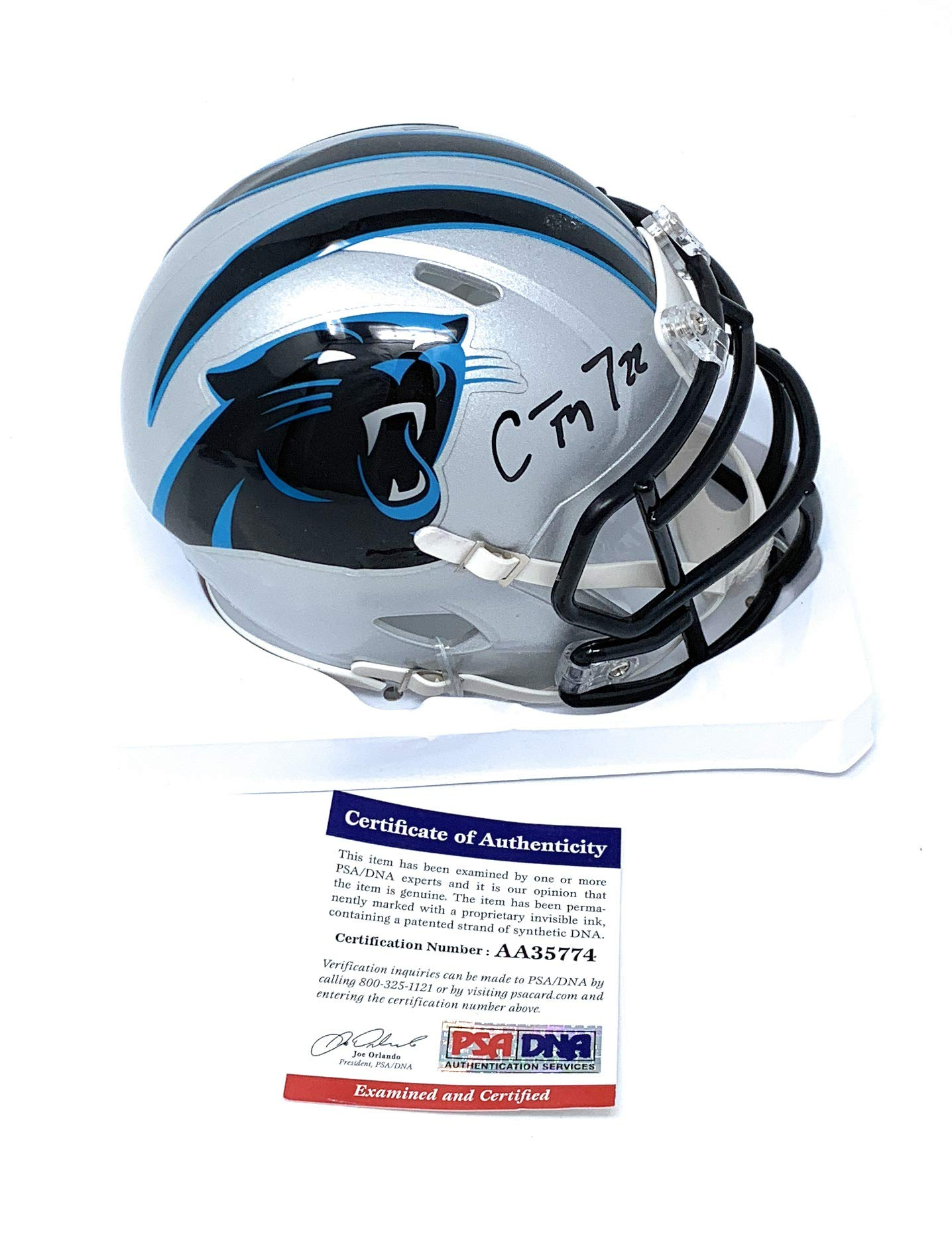 Christian McCaffrey Carolina Panthers Signed Autograph Speed Mini Helmet PSA/DNA Certified