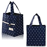 Wave Point Thermal Insulated Little Lunch Bag Kids School Lunch Bag Picnic Box Thermal Insulated Lace Dot Lunch Box Picnic Storage Case Pouch Tote Bag Portable Assorted Colours (Blue)