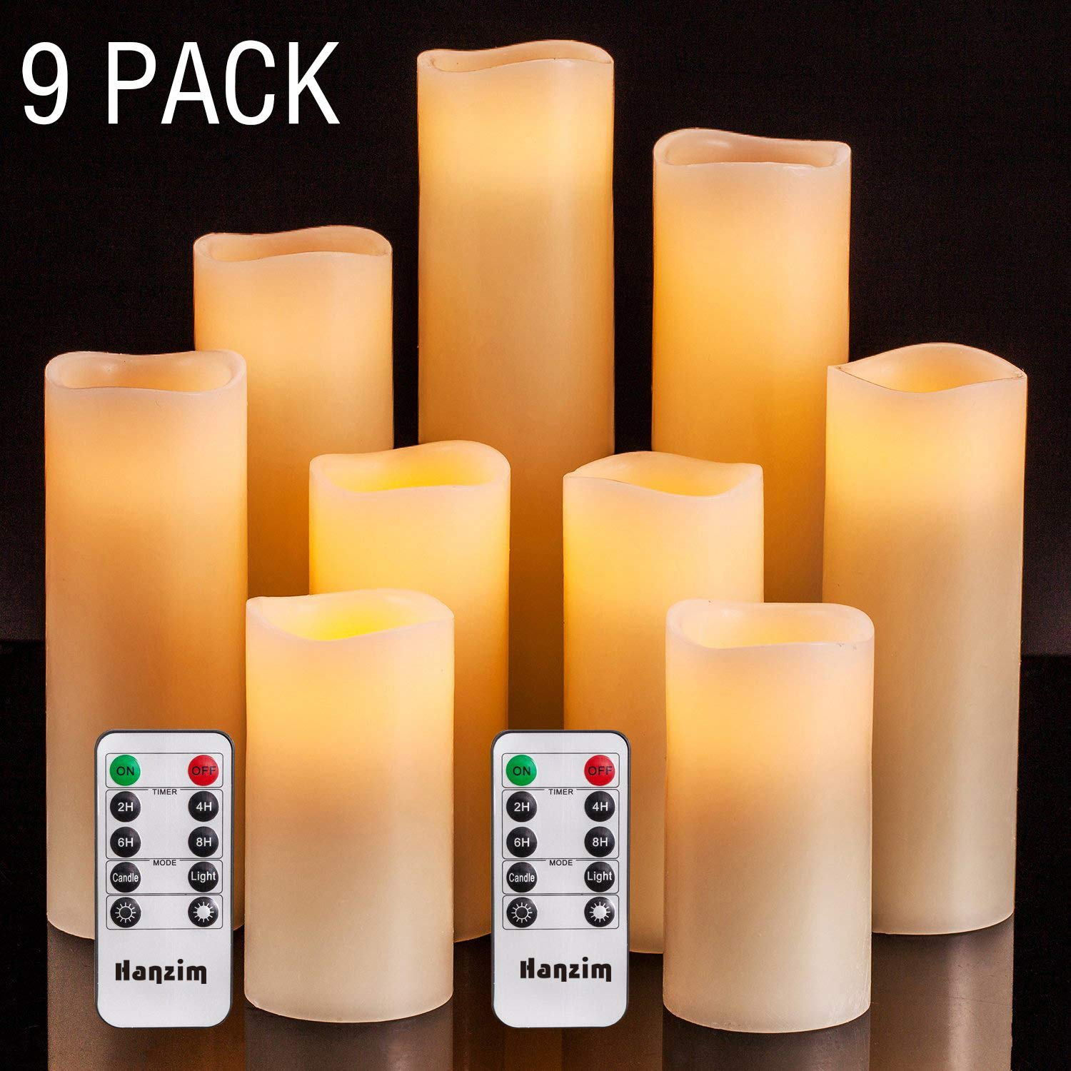 HANZIM Flameless Candles Battery Operated Candles 4'' 5'' 6'' 7'' 8'' 9'' Set of 9 Ivory Real Wax Pillar LED Candles with 10-Key Remote and Cycling 24 Hours Timer (9) by HANZIM