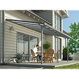 Toit de terrasse en alu gris et polycarbonate 3 x 8 m -Dim : 850 x 295 x 260 cm -PEGANE-