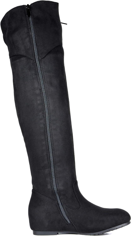 DREAM PAIRS Womens Hidden Wedges Heel Over The Knee Boots