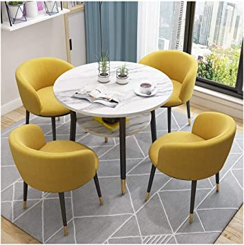 Amazon Com European Modern Tables And Chairs Double Layer Table Space Saving Table And Chair Combination Office Balcony Cafe Hotel Home Living Room Bedroom Dining Room 80cm Round Table With 4 Chairs
