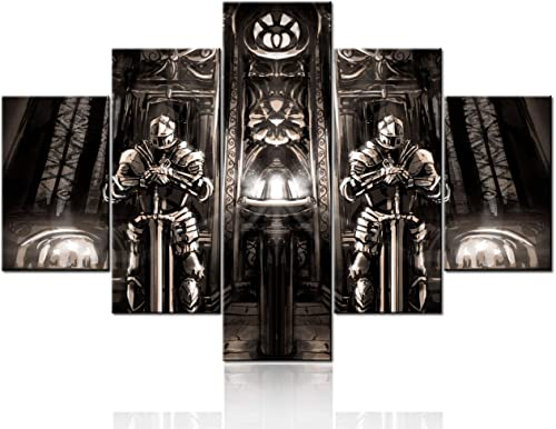 Ancient Cathedral Picture Wall Art Abstract Knights Painting on Canvas Medieval Warrior Wall Art Vintage Poster and Prints Home Decor Living Room Framed Stretched Ready to Hang 5 Panel 60''W x 40''H