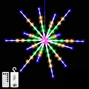 Hanging Star Lights 14 LED Decorative Starburst Lights Battery Powered Remote Control Waterproof Firework Fairy String Lights Multi-Colored Optional Dandelion Copper Wire Light for Party Home Holiday