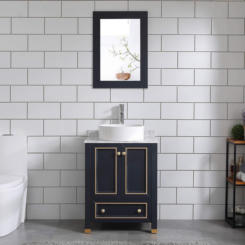 Amazon Com Homecart 24 Bathroom Vanity And Sink Combo Solid Wood Authentic Marble Top W Vessel Sink Mirror Kitchen Dining