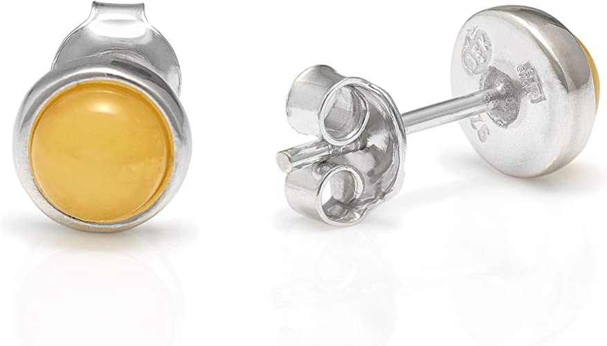 5 x 5 mm STUDS AMBER   Sterling  Silver  925  Earrings