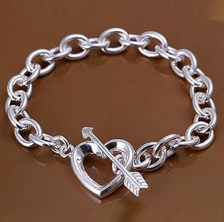 cc2beaa31 GJS Sterling silver Finish Tiffany style, heart & Arrow Chain bracelet 8'':  Amazon.co.uk: Kitchen & Home