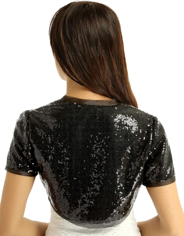 CHICTRY Donna Glitter Paillettes Maniche Corta Giacche Sportive Bolero Shrugs Giacche Corte Cardigan Elegante Blazer Pullover Coprispalle per Festa Cerimonia Clubwear