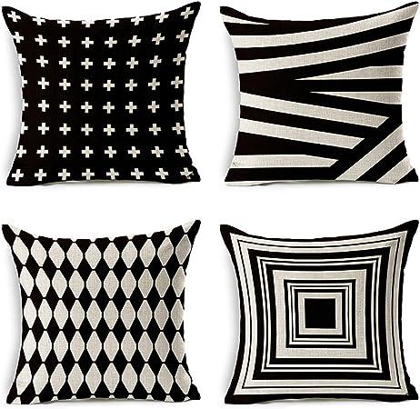 JOTOM - Juego de 4 fundas de almohada de lino y algodón suave, decorativas para el hogar, cuadradas, 45 x 45 cm: Amazon.es: Hogar
