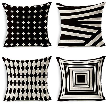 Wondrous Jotom Soft Cotton Linen Throw Pillow Case Sofa Car Cushion Cover Home Bed Decor 45 X 45Cm Set Of 4 Black White Shading Machost Co Dining Chair Design Ideas Machostcouk