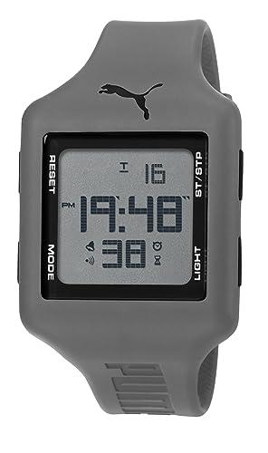 Puma Slide L - Reloj digital con correa de poliuretano unisex, color gris y negro/LCD: Amazon.es: Relojes