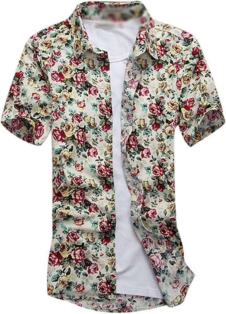YuanDian Hombre Camisas Hawaianas Tallas Grandes Verano Playa Impresión Estampado Flores Informal Manga Corta Tropical Aloha Botón Down Suaves Camisetas Blusas Caqui 5XL: Amazon.es: Ropa y accesorios